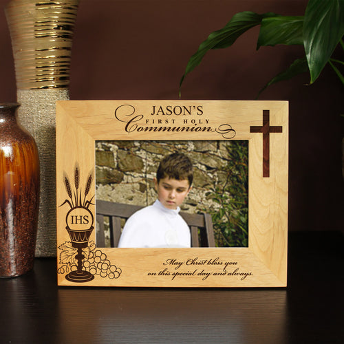 First Communion Inspired Designs Picture Frame with Two Design Options & Font Selection (Select Size and Frame Orientation) - Design's the Limit