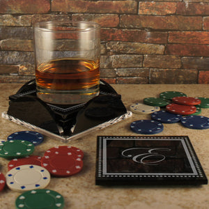 Personalized Black Glass Coaster Set Of Four Coasters With Base Engraved  With Monogram Design Options U0026