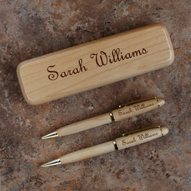 Designs Maplewood Collection Personalized Pen, Pencil, and Letter Opener Gift Sets with Product Choices & Choice of Font From Our Selection - Design's the Limit
