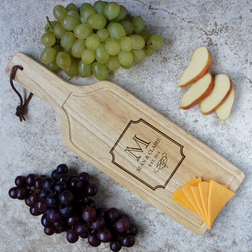 Design's Hanging Wine Shaped Personallized Cutting Board with Monogram Design Options & Font Selection (Each) - Design's the Limit
