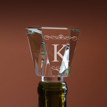 Crystal Personalized Wine Bottle Stopper with Single Initial in Any Font From Our Selection, & Gift Box Included (Each - 4