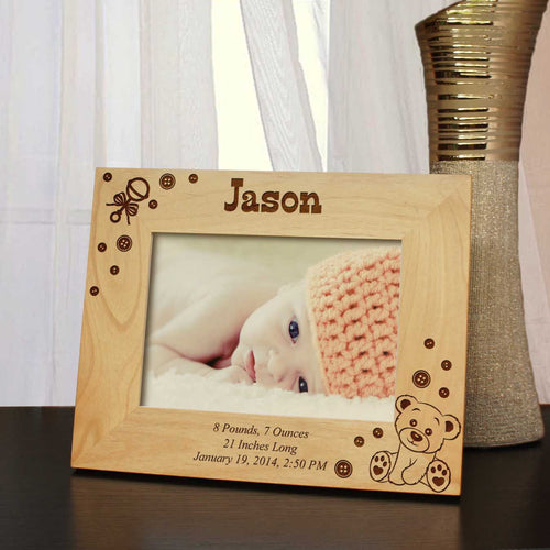 Design 'Newborn Baby' Custom Picture Frame with Boy & Girl Announcement Design Options and Font Choice (Select Size and Frame Orientation) - Design's the Limit