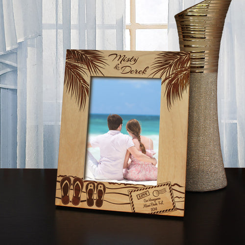 Dream Vacation Inspired Picture Frame with Font Selection (Select Size and Frame Orientation) - Design's the Limit