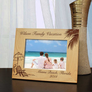 Vacation to Remember Picture Frame with Font Selection (Select Size and Frame Orientation) - Design's the Limit