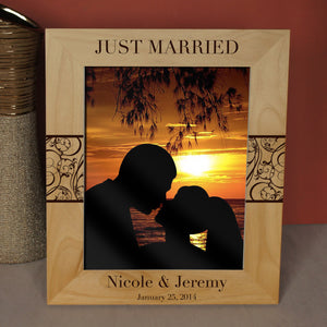 Just Married Inspired Personalized Wedding Announcement Picture Frame with Font Selection ( Choose Size and Frame Orientation) - Design's the Limit