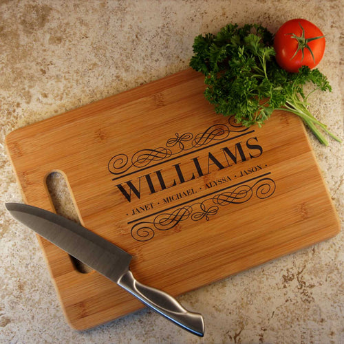 Personalized Cutting Board with Family Monogram Design Options and Font Selection (Each - Select Board Size) - Design's the Limit