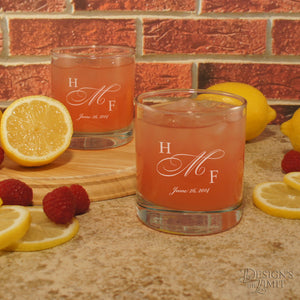 Couples Monogrammed Personalized Glassware Set with Couple's Monogram, Design Options, and Font Selection (Each - Set of Two)