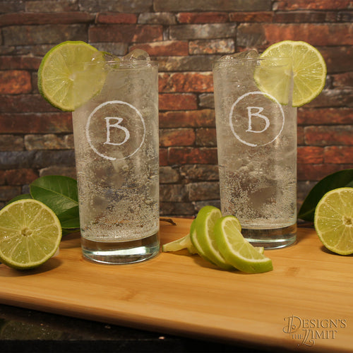 Design Your Own Personalized Highball Glass Monogrammed with Design Options & Font Selection with Optional Monogrammed Shot Glass