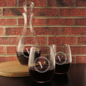 Personalized Wine Decanter Monogrammed with Our Design Options & Font Selection with Optional Glass Stopper (Wine Glasses listed Seperately)