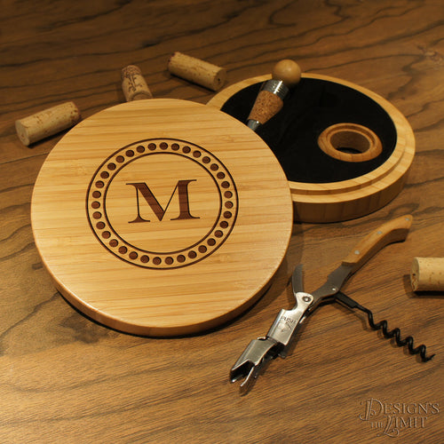 Designs Ultimate Personalized Wine & Bottle Opener Tool Set in Bamboo Case with Design Options and Font Selection - Design's the Limit