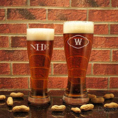 Personalized Design's Pilsner Beer Glass with Monogram Design Options and Font Selection (Each - 16 oz  or 23 oz sizes available) - Design's the Limit