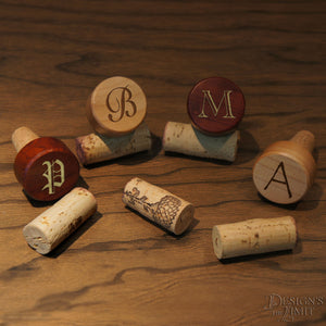 Personalized Wine Bottle Stopper with Design's Monogram Options & Font Selection including Gift Pouch - Design's the Limit