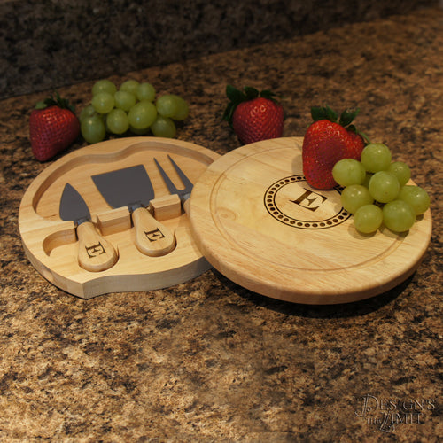 Brie Personalized Cheese Cutting Board & Tool Set with Monogram Design Options and Font Selection (7.5