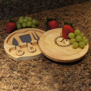 "Brie Personalized Cheese Cutting Board & Tool Set with Monogram Design Options and Font Selection (7.5"" Diameter) - Design's the Limit"