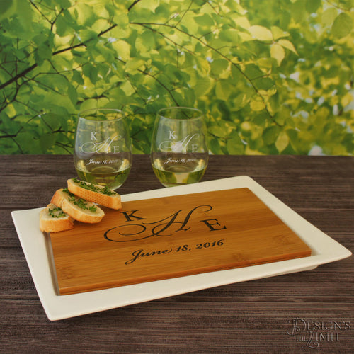 Ceramic Serving Tray Wedding Registry Gift with Personalized Cutting Board including Couple's Monogram Design Options (Each - 13