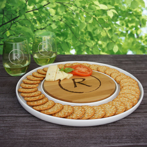 Personalized Cutting Board & Ceramic Serving Platter Combo with Engraved Monogram Design Options (Each - 13
