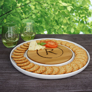 "Personalized Cutting Board & Ceramic Serving Platter Combo with Engraved Monogram Design Options (Each - 13"" Diameter) - Design's the Limit"