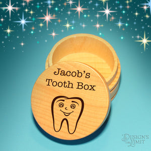 Design's Personalized Tooth Fairy Box with Choice of Engraved Tooth Design Options &Font Selection with Gift Pouch Included - Design's the Limit