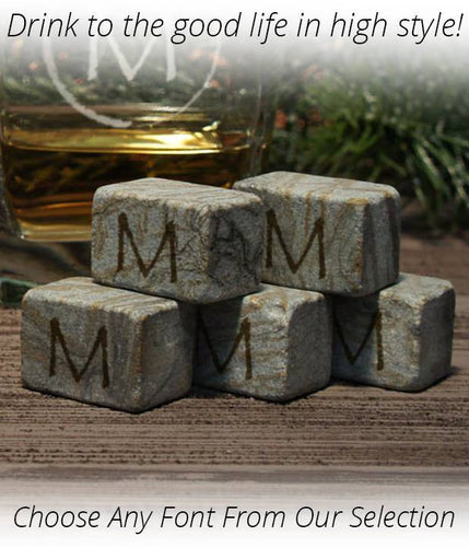 By the Dozen - Engraved Whiskey Ice Stones including Gift Pouch - Personalized with Choice From Font Selection