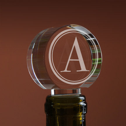 Crystal Personalized Wine Bottle Stopper with Single Initial or Symbol, Font Selection, & Gift Box Included (Each - 4