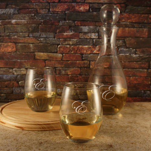 Personalized Stemless Wine Glasses with Monogram Design Options & Optional Decanter Gift Set with Monogrammed Glass Carafe with Stopper