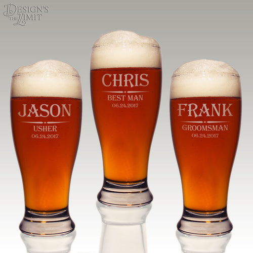 Personalized Stout Pilsner Glass with Engraved Groomsmen Monogram Designs & Font Selection with OPTIONAL Monogrammed Magnetic Bottle Opener