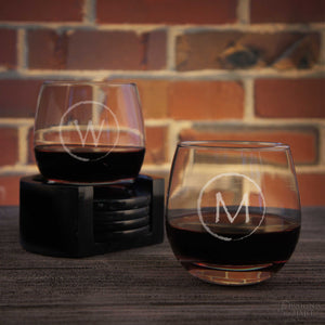 Stemless Personalized Wine Glasses Engraved w/ Monogram Design Options & Font Selection (Select Type of Glass - Each - Choose Any Quantity)