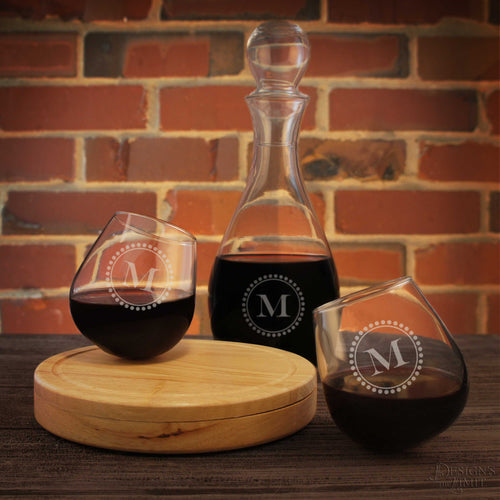 Askant Personalized Rocking Glasses Engraved with Choice of Monogram Design Options & Font Selection (Set of Two with Optional Decanter)