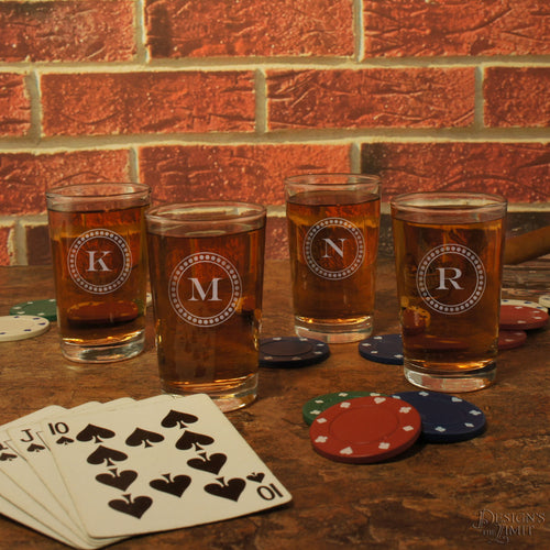 Personalized Shot Glasses individually Monogrammed with Design Options and Choice of Font from Our Selection (Each)