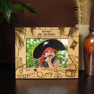 Designs 'A Pirate Life' Personalized Picture Frame Including Vacation Information with Font Selection (Select Size and Frame Orientation) - Design's the Limit