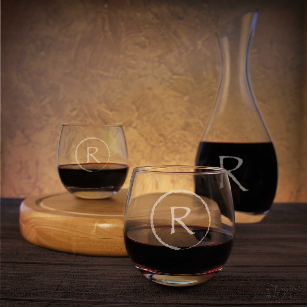 Crystal Wine Decanter including Sand-Carved Personalization with Monogram Design Options & Font Selection (Each - Glasses Not Included) - Design's the Limit