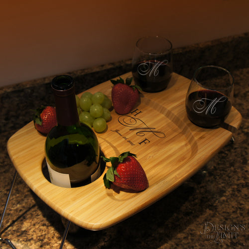 Wine Lover's Personalized Serving Table with Design Options & Font Selection (Each - 18.9