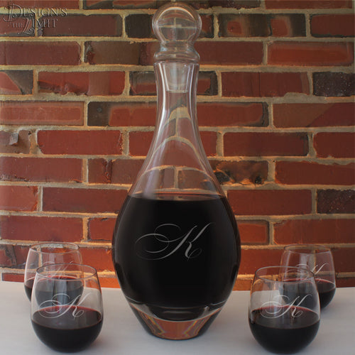 Wine Centerpiece Crystal Decanter with Stopper including Sand Carved Personalization with Any Font from Our Selection (Each- Decanter Only)