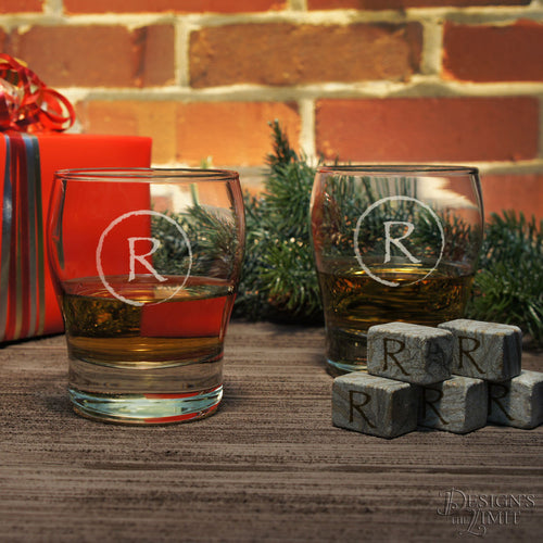 Personalized Stemless Scotch Glass with Monogram Design Options & Font Selection OPTIONAL Ice Stones in Gift Pouch or Engraved Shot Glass