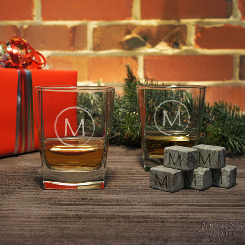 Rocks Lowball Glasses Personalized with Monogram Designs & Font Selection OPTIONAL Engraved Ice Stones or Shot Glasses (EACH - w/ Options)