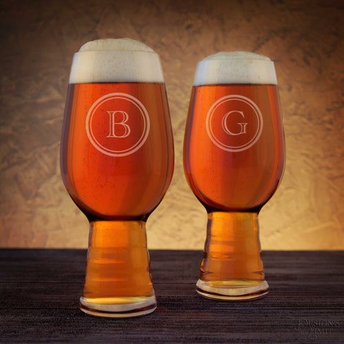 Personalized IPA Beer Glasses with Monogram Design Options & Font Selection and Optional Monogrammed Bottle Opener Gift Set (Each) - Design's the Limit