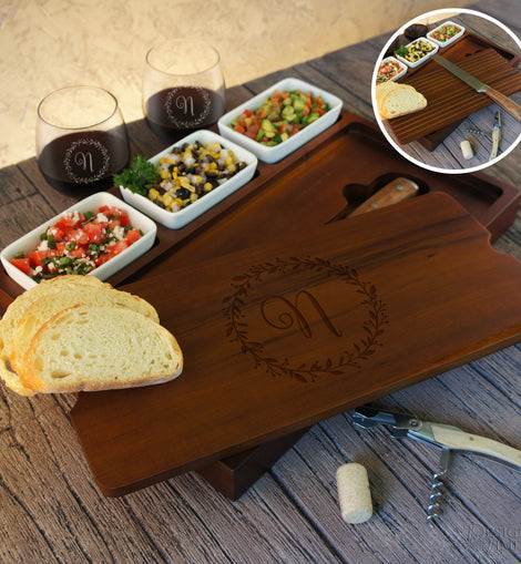 Personalized Bruschetta Bread Board Set including Ceramic Bowls and Bread Knife Engraved with Monogram Design Options & Font Selection - Design's the Limit