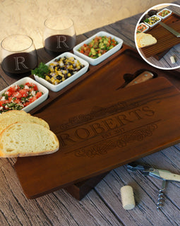 Personalized Bruschetta Bread Board Set including Ceramic Bowls and Bread Knife Engraved with Family Monogram Design Options - Design's the Limit
