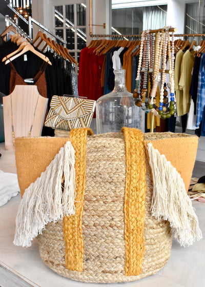Sippin' on Summer Fringe Jute Tote