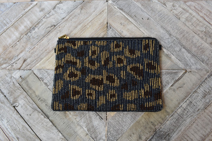 Look at Me Leopard Print Beaded Clutch