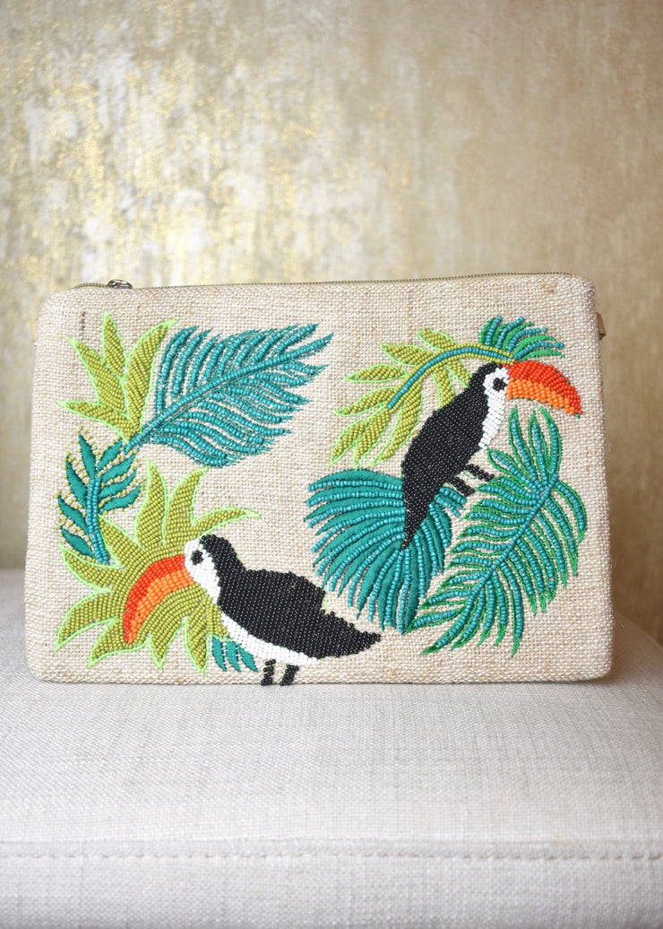 Birds Of A Feather Beaded Clutch
