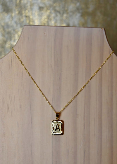 If I Told You Rectangle Initial Necklace