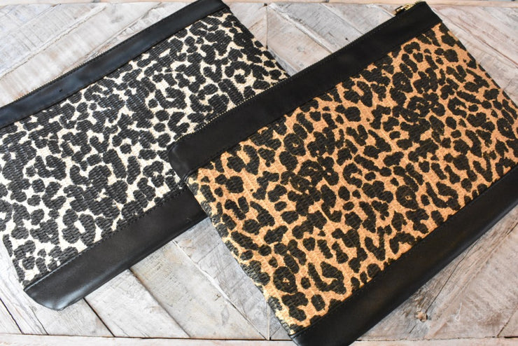 Ray of Light Leopard Print Straw Clutch