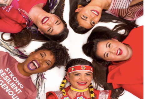 Source: cheekbone beauty (Alt text: 5 women laying in a circle all smiling and laughing wearing bright colour lipstick)