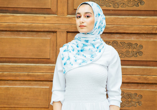 Hana's Prints Collection: Blue Floral on White - leenashijabs