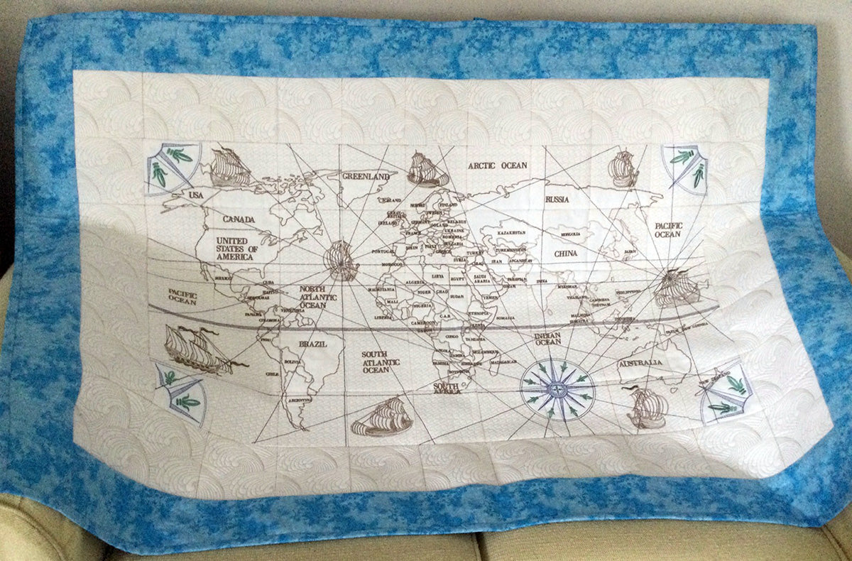 Antique World Map Complete Quilt at astitchahalf.net