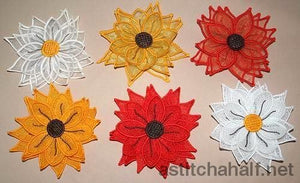 3D Silk Sunflower Freestanding Lace Applique