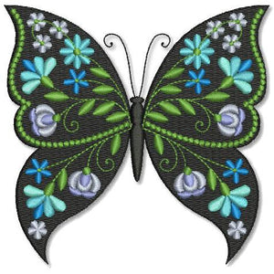 Butterfly Black and Blue Cerulean - a-stitch-a-half