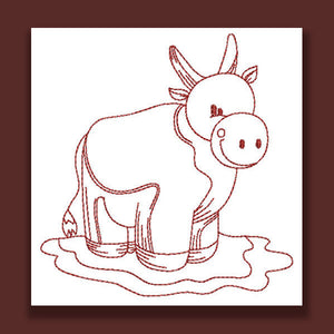 Farm Animals Redwork - a-stitch-a-half