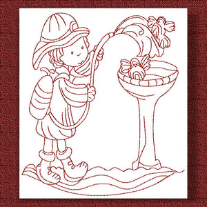 Fire Fighters Redwork - a-stitch-a-half
